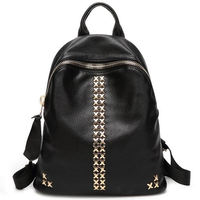 Black Leather Backpack Teenager School Rucksacks 2017 New Stylish