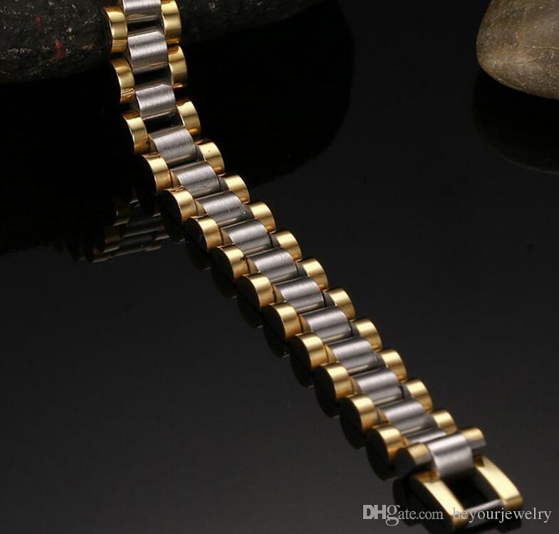10mm Breite 316L Edelstahl Inermittent Vergoldetes Band Link Armband, schlanke Lady Style, 2 Wahlmöglichkeiten