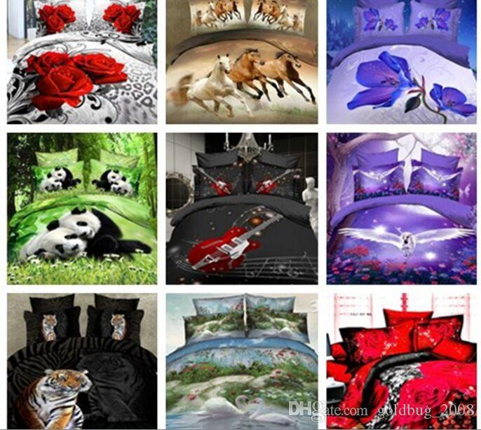 17 style wolf tiger leopard horse 4pcs Queen 3D Butterfly Flowers Green Bed Sheet Duvet Cover Pillowcase Set DC001