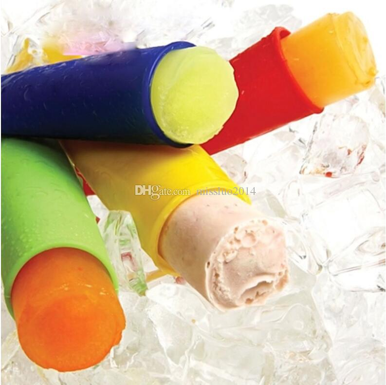 Wholesale Silicone Ice Pop Mold Popsicles Mould with Lid Ice Cream Makers Push Up Ice Cream Jelly Lolly Pop For Popsicle 15*3.5cm