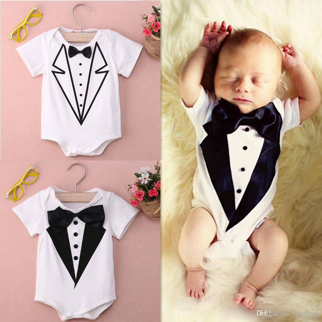 206fd8d26 2017 Summer Boy Clothing Infant Baby Gentleman Romper Bow Tie Onesies Short  Sleeves Babies Clothes Boy Jumpsuit 2 Styles Pattern 0-24M