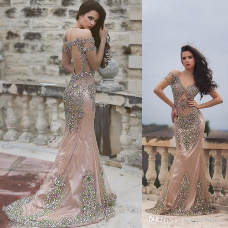 abe8814285b Colorful Crystals Beaded Prom Dresses Sexy See Through Backless Mermaid Evening  Gowns Cap Sleeves Formal Party Dress Customized Vestidos Formal Dress  Stores ...