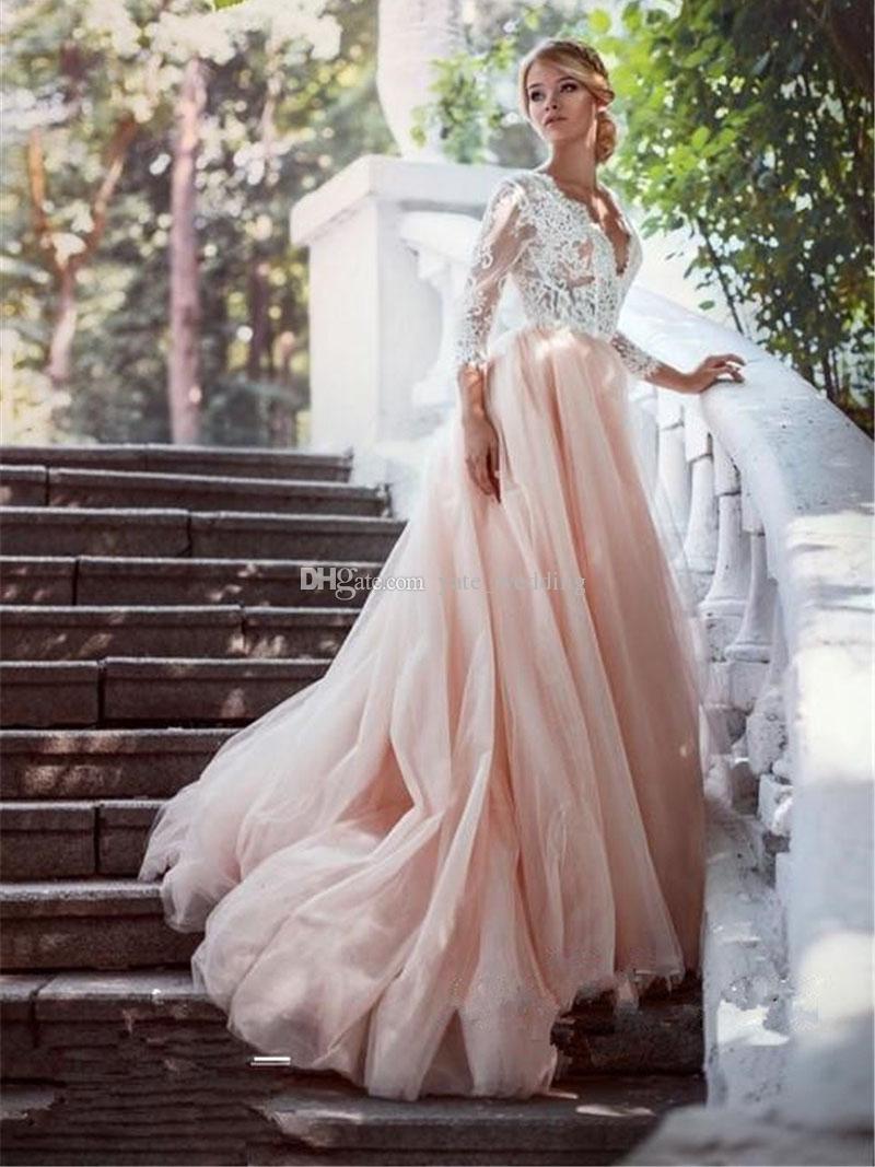 Élégant Blush Rose Robes De Mariée V Cou 3/4 Manches Longues Dentelle Tulle Backless Plus La Taille Robes De Mariée Sur Mesure Robes De Mariée Sur Mesure