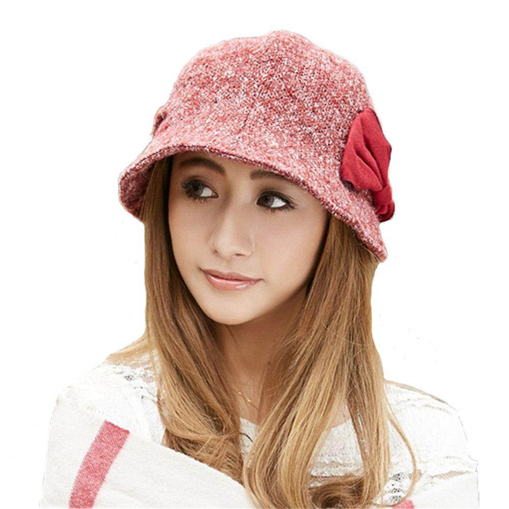 Wholesale-Women Girls Fashion Autumn Winter Foldable Bowknot Bucket ... 41206e4c6f36
