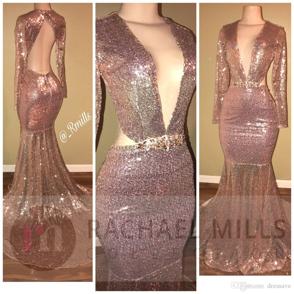2k18 Sexy Bling Rose Gold Sequined Mermaid Prom Dresses 2018 African Black Girl Long Sleeves V Neck Cutaway Special Occasion Evening Gowns