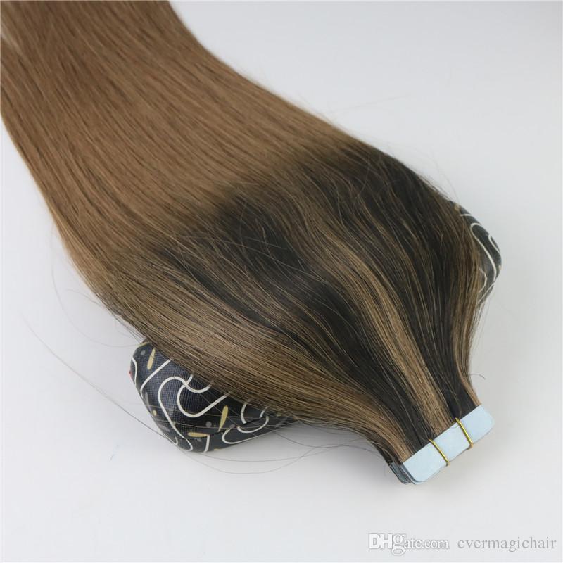 100 gramm 40 stücke Band In Haarverlängerungen Balayage Ombre Farbe Braun Brasilianisches Reines Haar Nahtlose PU Haut Einschlag