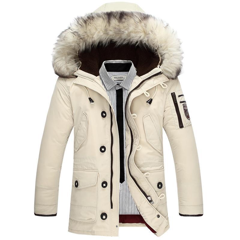 6b1497c3f Wholesale- New Arrival Men s Duck Down Jacket Mens Brand Thicken Jacket  Winter Coat Australian wool Fur collar Hooded -40 degree Wear Y131