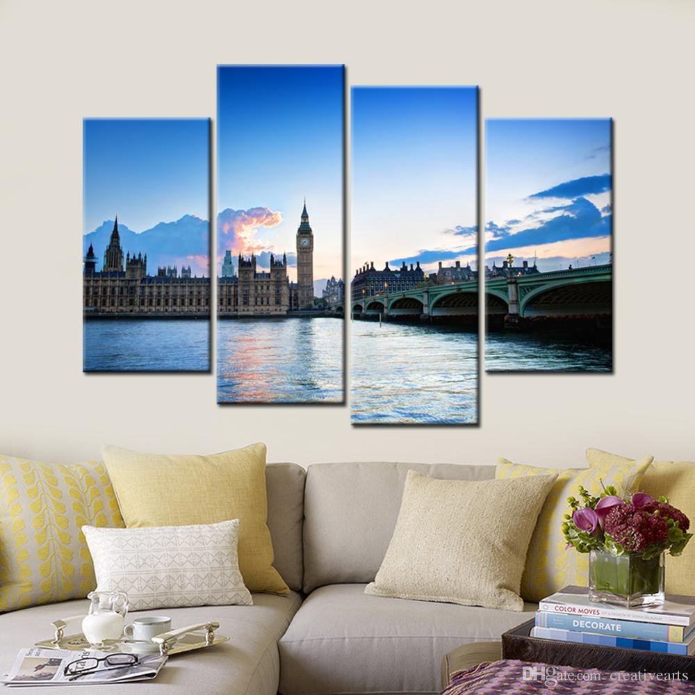 The Thames River Scenery Canvas Printing Picture The Big Ben Giclee Artwork Decorative Canvas Prints for Home and Office 4 Panels