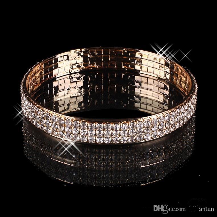 Bracelet de mariée plaqué or de luxe Bling Bling 3 rangées strass arabe bracelet bracelet femme Femme Prom soirée fête bijoux bijoux accessoires de mariée