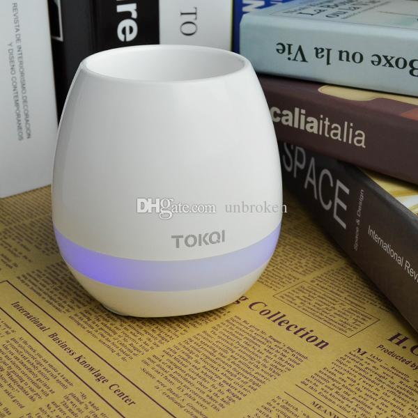 New smart Mini Flower Pot Plastic Bluetooth Speaker Music USB charging Decoration With Built in Battery Home Office Decor Planter Light Toys