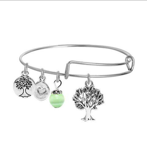 Fatima Hand Love and Be Loved Bracelets Silver Gold Bangle With Tree Of Life Palm Wish Anchor Sea Charms Bangle