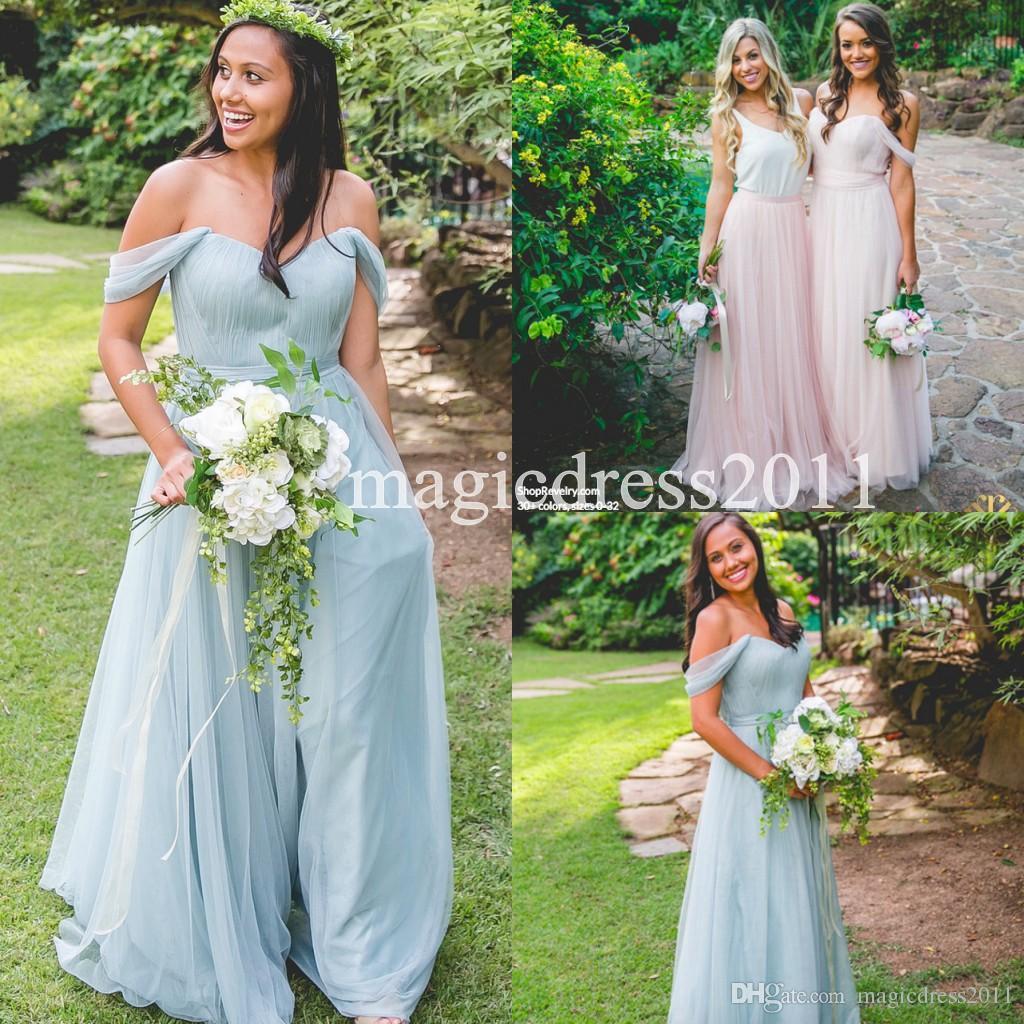 Modest 2016 beach bohemian bridesmaid dresses a line off shoulder 5 ombrellifo Image collections