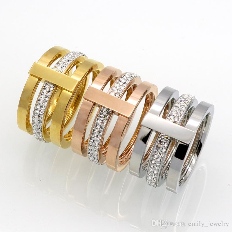 2017 brand 316L Titanium steel jewelry wholesale 3 layer with diamond Rings for woman wedding ring jewelry 18k gold/silver/rose color