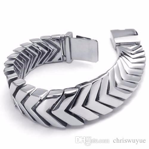 Acheter Cool Mens Bracelets En Argent Bijoux Lourd Large 316l En Acier  Inoxydable Bracelet Hommes Bracelet De Chaîne De Motard NB19 De $21.32 Du  Chriswuyue