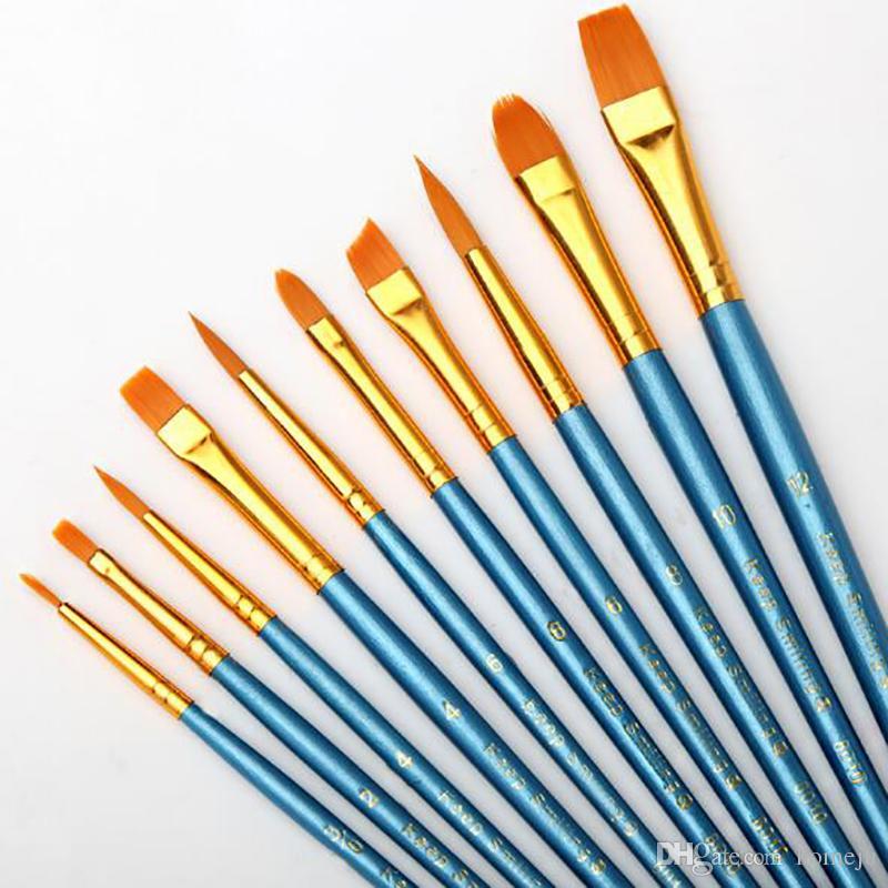 Crianças Estudante Pintura Guache Aquarela Caneta De Nylon Cabelo De Madeira Lidar Com Conjunto de Pincel de Pintura Desenho Suprimentos de Arte 10 Pçs / set