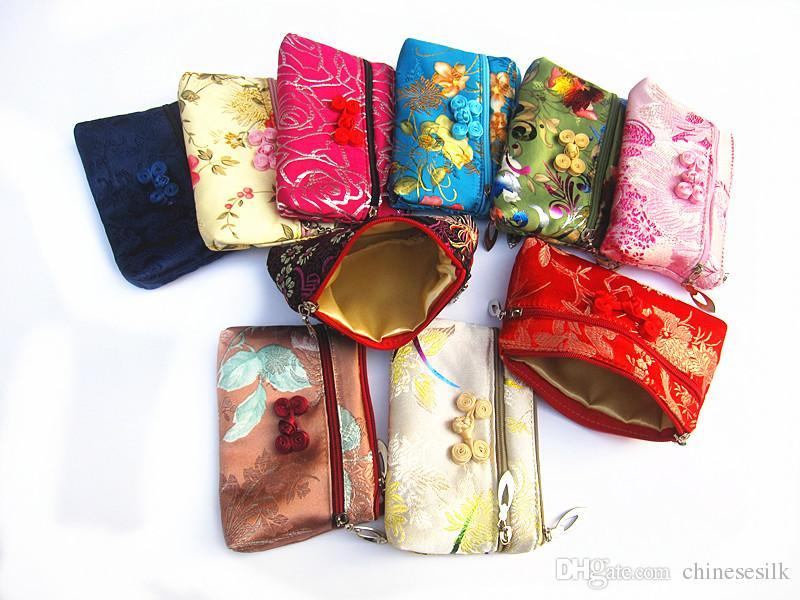 빈티지 더블 지퍼 가방 코인 지갑 중국 매듭 실크 브로케이드 쥬얼리 파우치 미니 더블 레이어 메이크업 가방 신용 카드 소지자 여성 /