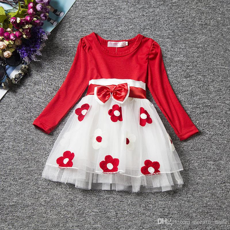 Infant Children Baby Girls Clothes Princess Bow Flower Printed Bow Long Sleeve Party Tulle Tutu Dress