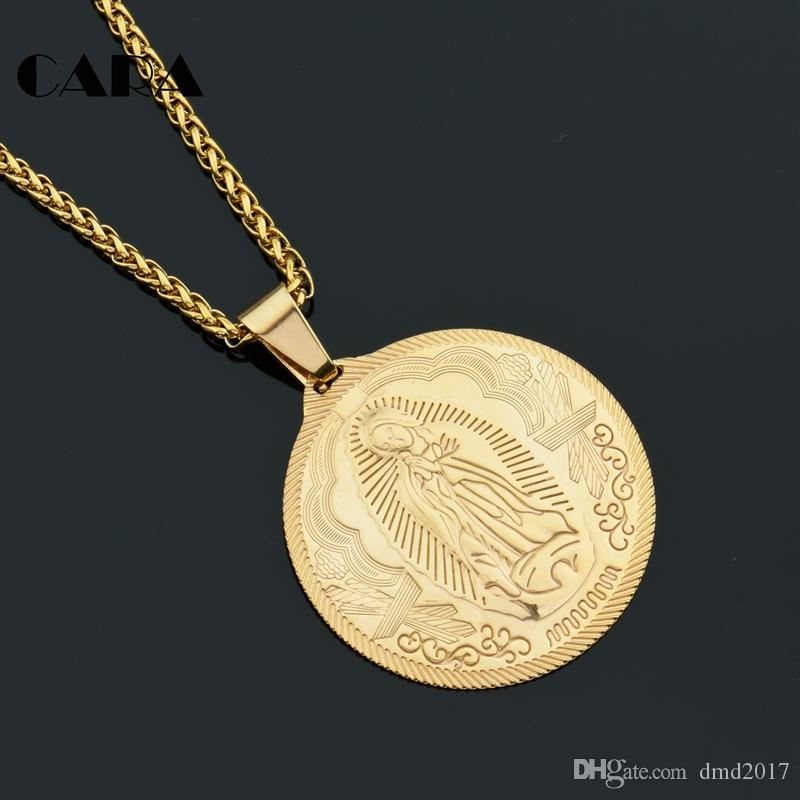 CARA new Gold color stainless steel rilievo Virgin Mary necklace pendant Christian round tablet charm necklace jewelry CAGF0296