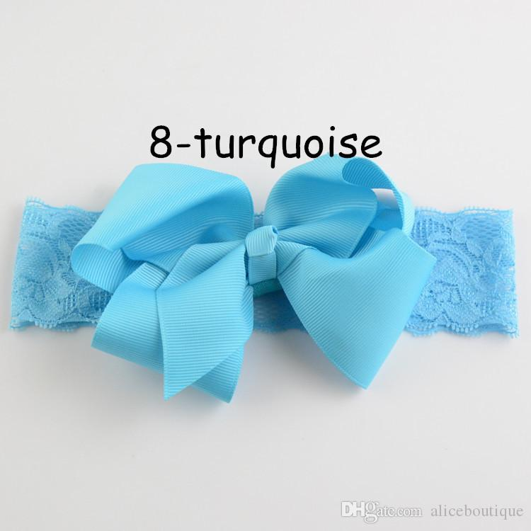 Wholesale New Style Kids Ribbon Big Bowknot Hair Bows 15inch Lace Headband For Baby Girls Hair Flower FD130