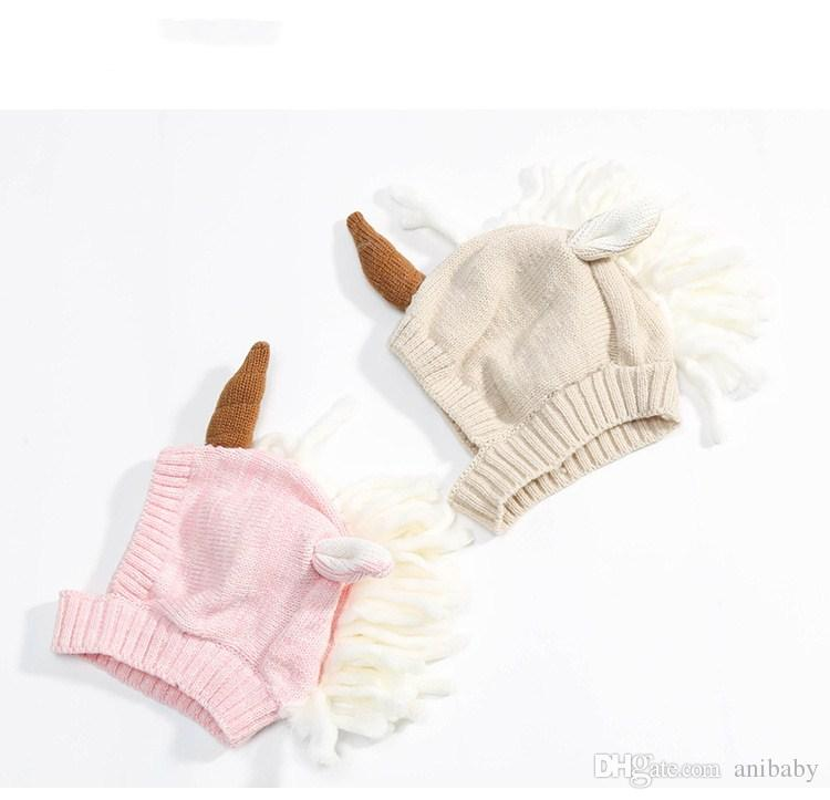 Newest infant unicorn hats Woolen Winter Knitted Hats Warm Hedging Caps cartoon Hand Crochet Caps A08