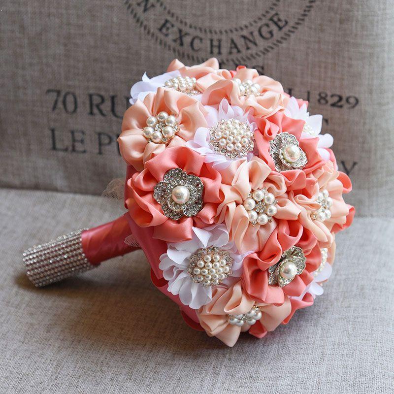 Small Blue Flowers For Weddings: Elegant Artificial Handmade Pearls Fabric Ribbon Flower