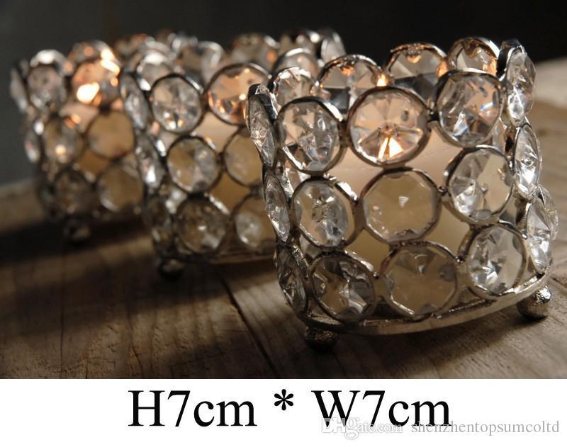 / H7cm * W7cm, freies Schiff, Glaskristall Votivkerzenhalter, Hochzeits-Mittelhauptdekoration