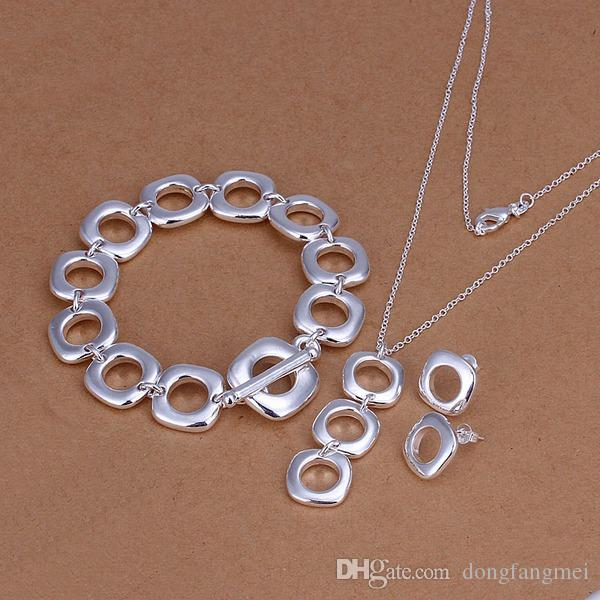 wedding Quartet silver plated jewelry sets for women DS162,popular 925 silver necklace bracelet earring jewelry set
