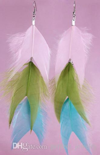 Feather Earrings wholesale Cute Charm Long Chain Multi-Color Light Dangle Eardrop  Dusty Green Pale Rose Lilac Plum JF292
