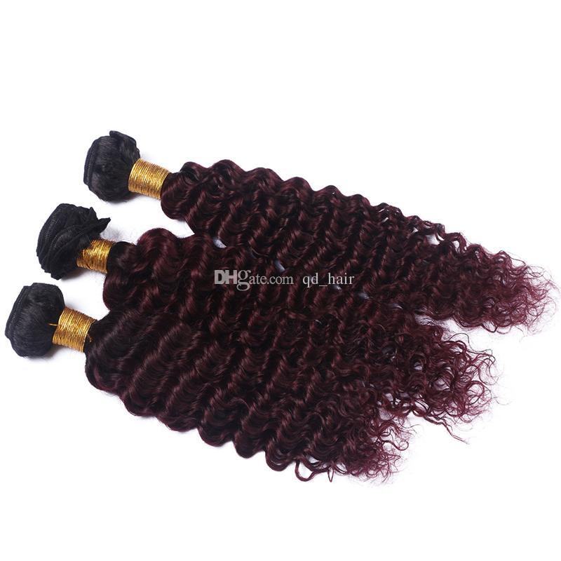 Темные корни омбре 1b 99j глубокие пучки волос волны с закрытием шнурка человека бордовый 1b 99J глубокие вьющиеся волосы с закрытием шнурка 4x4