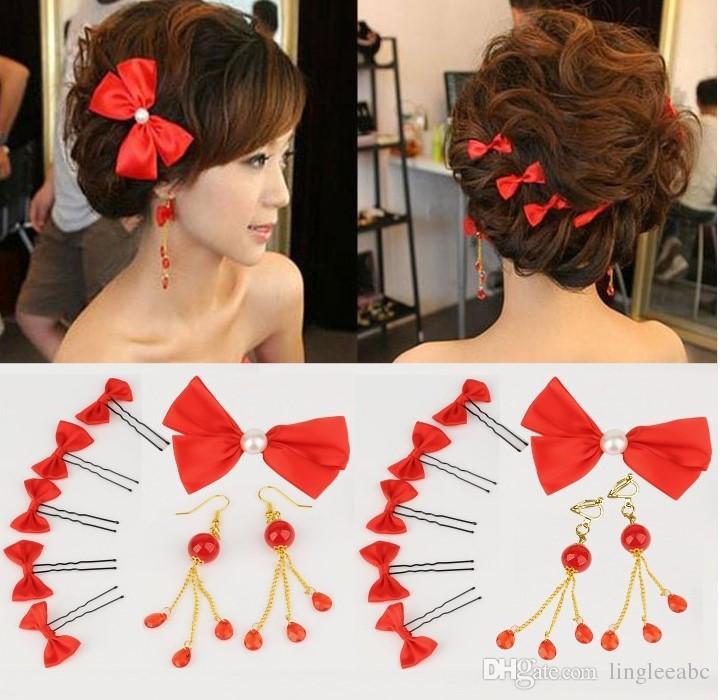 Düğün Aksesuarları Headdress Kırmızı Yay Gelin Saç Aksesuarları 8 Parça