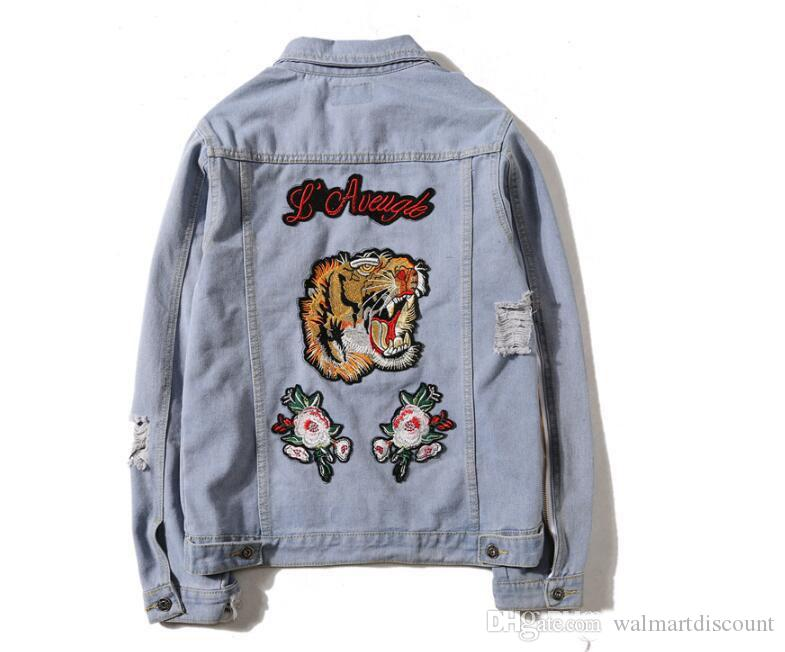 Tiger Embroidery Ripped Hommes Femmes Denim Vestes De Mode Design Style Européen kanye yeezus Hommes Veste 2 Couleurs
