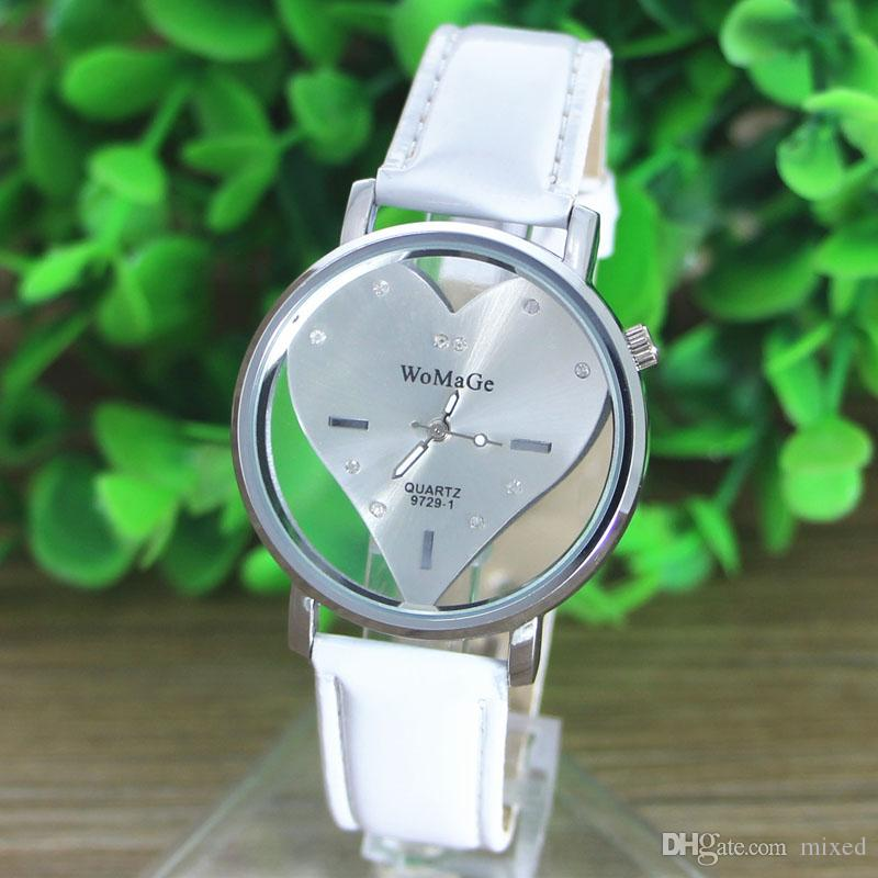 WoMaGe 9727-1 PU Leather Transparent Dial Hollow Heart Analog Quartz Wrist Watch New Casual Watch Women Dress Watches