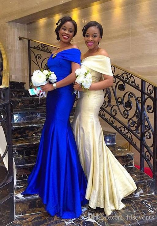 African Royal Blue Champagne Mermaid Long Bridesmaid Dresses ...