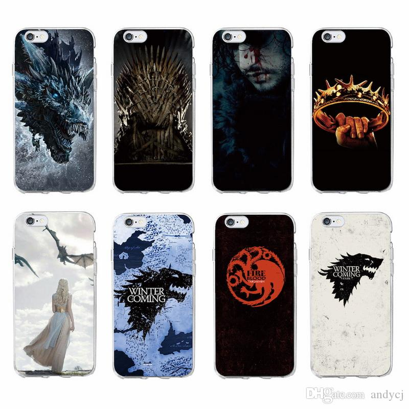 newest 998c0 c26c1 Game of Thrones print Transparent Silicone Phone Back Cover Case For iPhone  5 SE 6 6Plus 7 7Plus 8 8Plus X