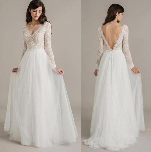 Discount Western Country Vintage Wedding Dresses Simple Boho V Neck ...