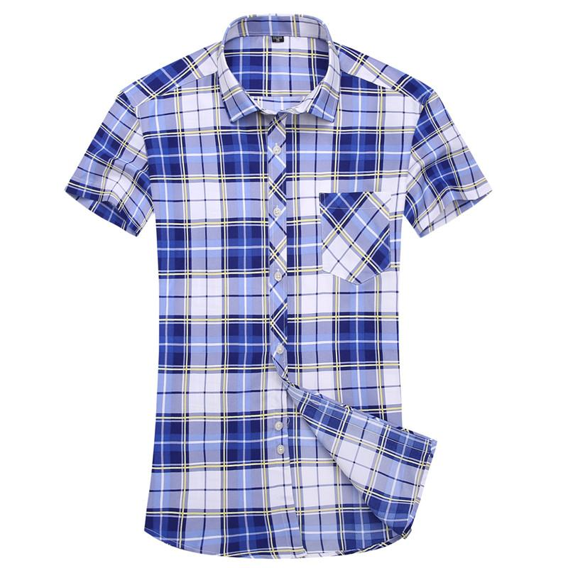 4d5f317c952 2019 Wholesale 2017 Summer Men Shirts Male Short Sleeved Multicolor Plaid  Shirt Dress Slim Fit Men S Business Casual Shirt Large Size 5xl From Avive