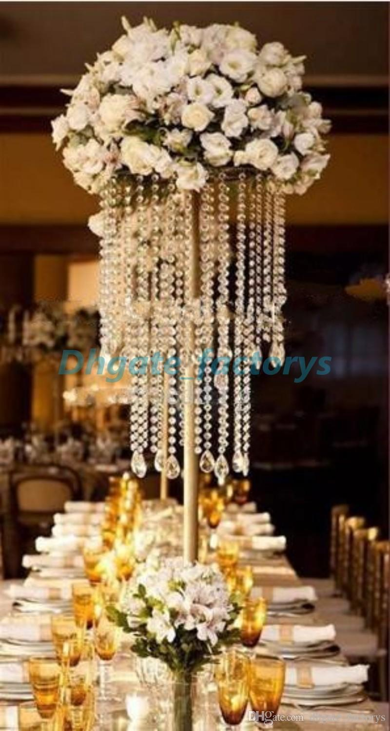 Gold Wedding Centerpiece Acrylic Bead Strands 60cm Tall Acrylic Crystal Flower Stand For