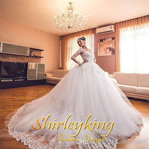 Gorgeous Sheer Ball Gown Wedding Dresses 2017 Puffy Beaded: Gorgeous White Lace Ball Gown Wedding Dresses 2017 V