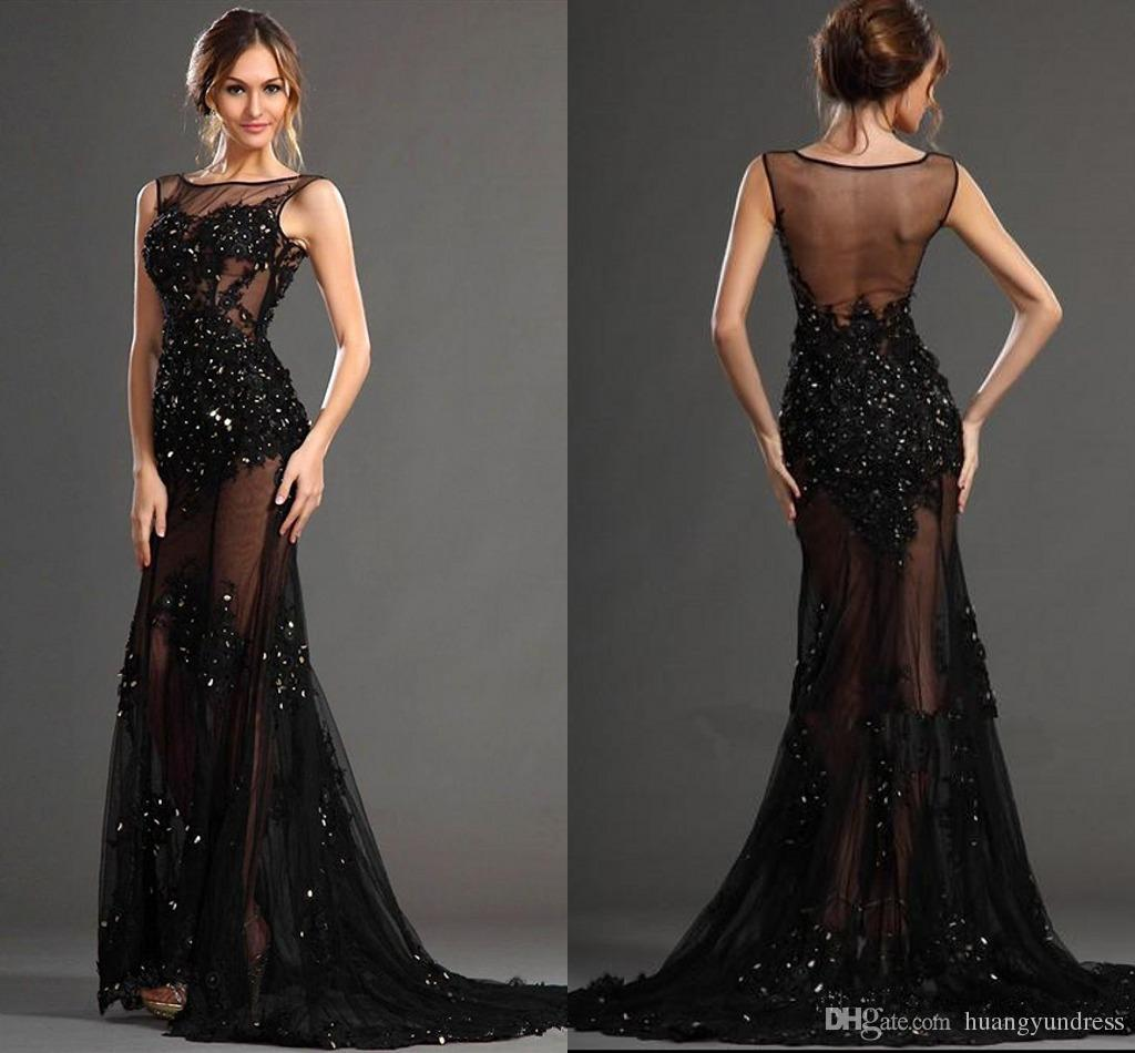 2017 Sexy Black Illusion Mermaid Prom Dresses Sheer Jewel Backless