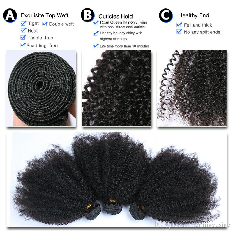 Mongolian Afro Kinky Curly Human Hair Bundles Virgin Kinky Curly Hair Weft 100g/pc Indian Brazilian Peruvian Malaysian Human Hair