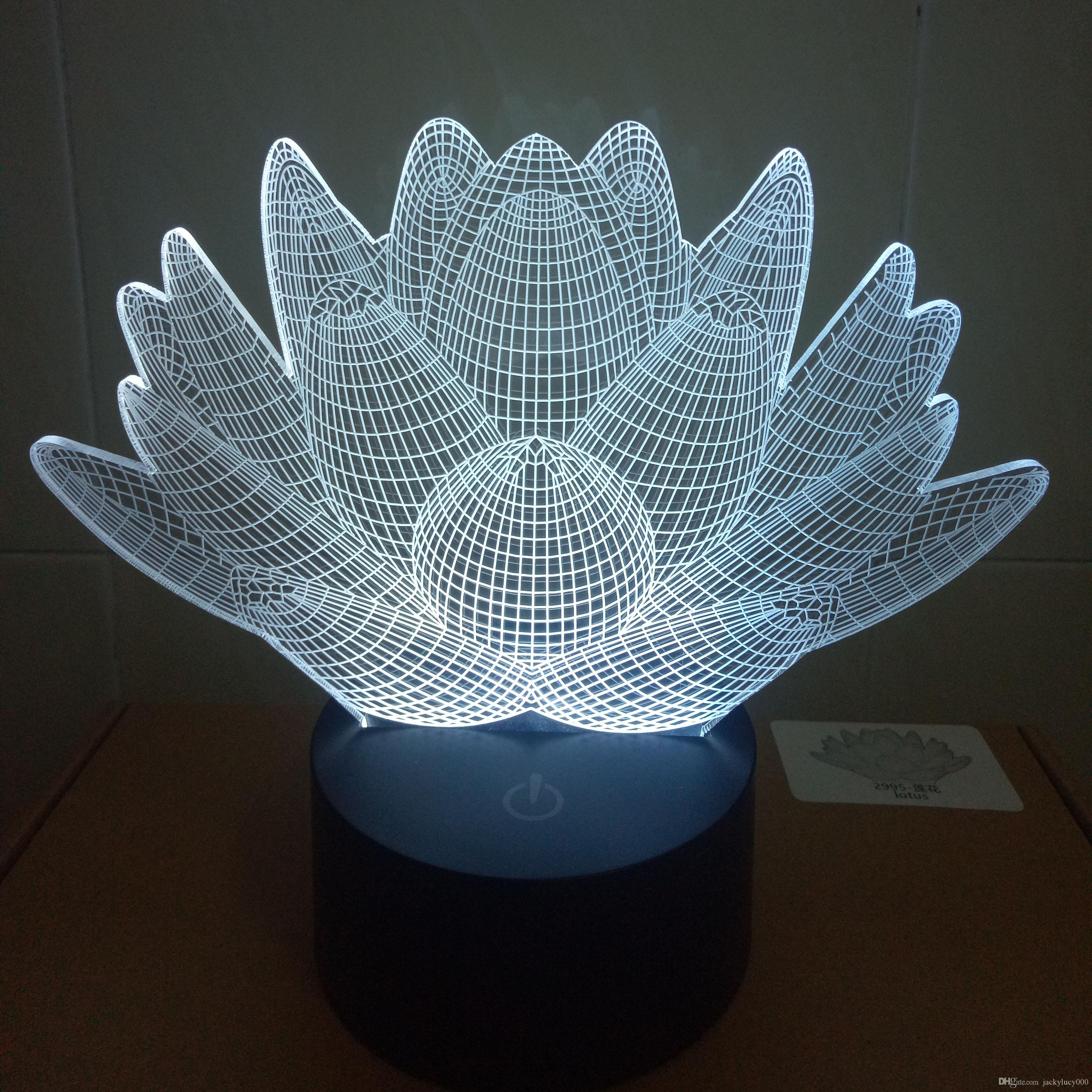 Best Quality Changed Lotus Flowers Table Lamp 3d Effect Led Light