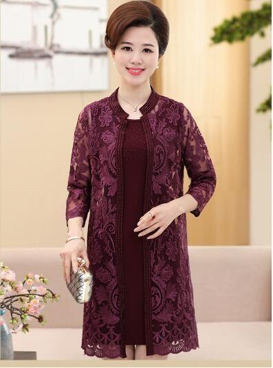 Middle Aged Women S Lace Dress Suit Mother S Wedding Elegent