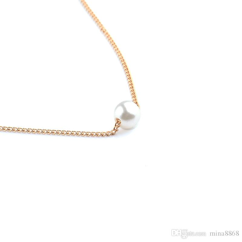 Simple fashion Girls Choker Necklace for Women fashion Cute Imitation Pearl Bead Pendant Druzy Necklace Jewelry Wholesale