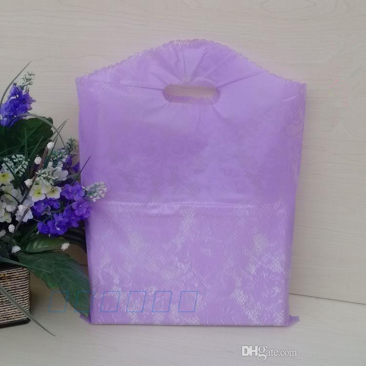 wholesale 25x35CM Lace Gift Bags, Transparent plastic Bags green purple Rose Floral shopping packaging kid's T shirt bag Wedding Bags