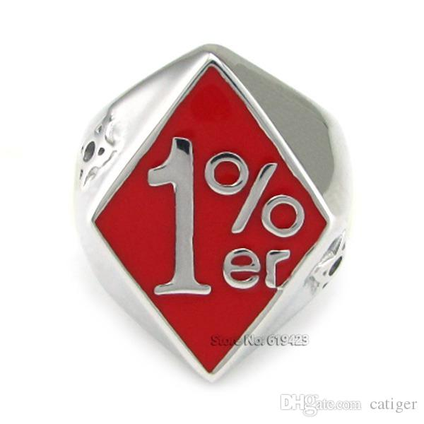 Punk 316L Stainless Steel Silver White Red color Soft Enamel 1% ER Biker Ring,One Percent Ring