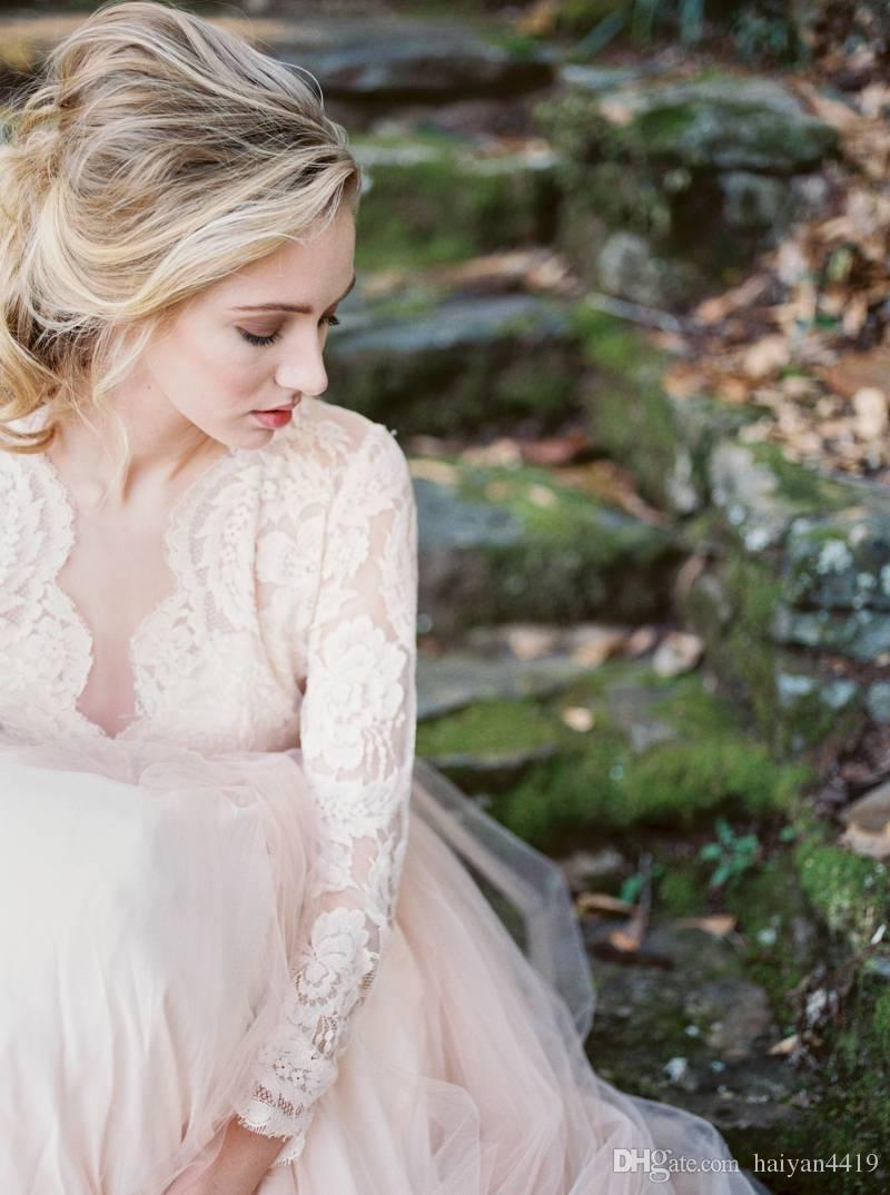 2020 나라 블러쉬 핑크 웨딩 드레스 레이스 아플리케 긴팔 티셔츠 환상 할로우 맨 튈 스윕 기차 보헤미안 플러스 사이즈 신부 가운