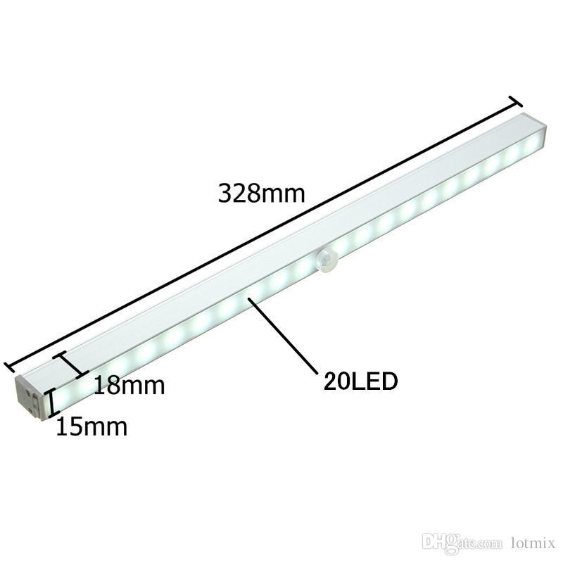 1.6 W 20 LED Merdiven Gece Işık Kablosuz PIR Hareket Algılama Dolap Kabine Altında LED Bar işık Akülü 80LM