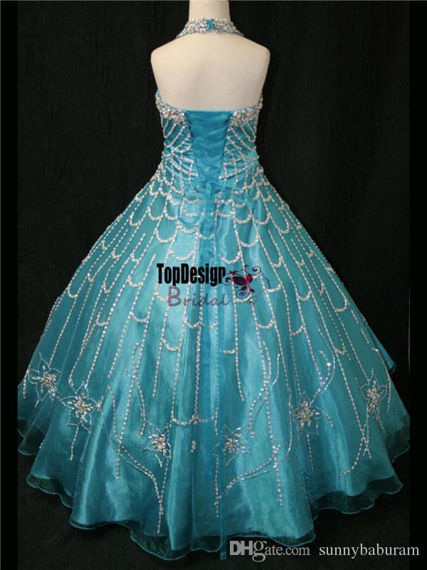 2017 Brand New Atacado Strass Preto Coberto Halter Top Meninas Vestidos Pageant Princesa vestido de Baile LR881