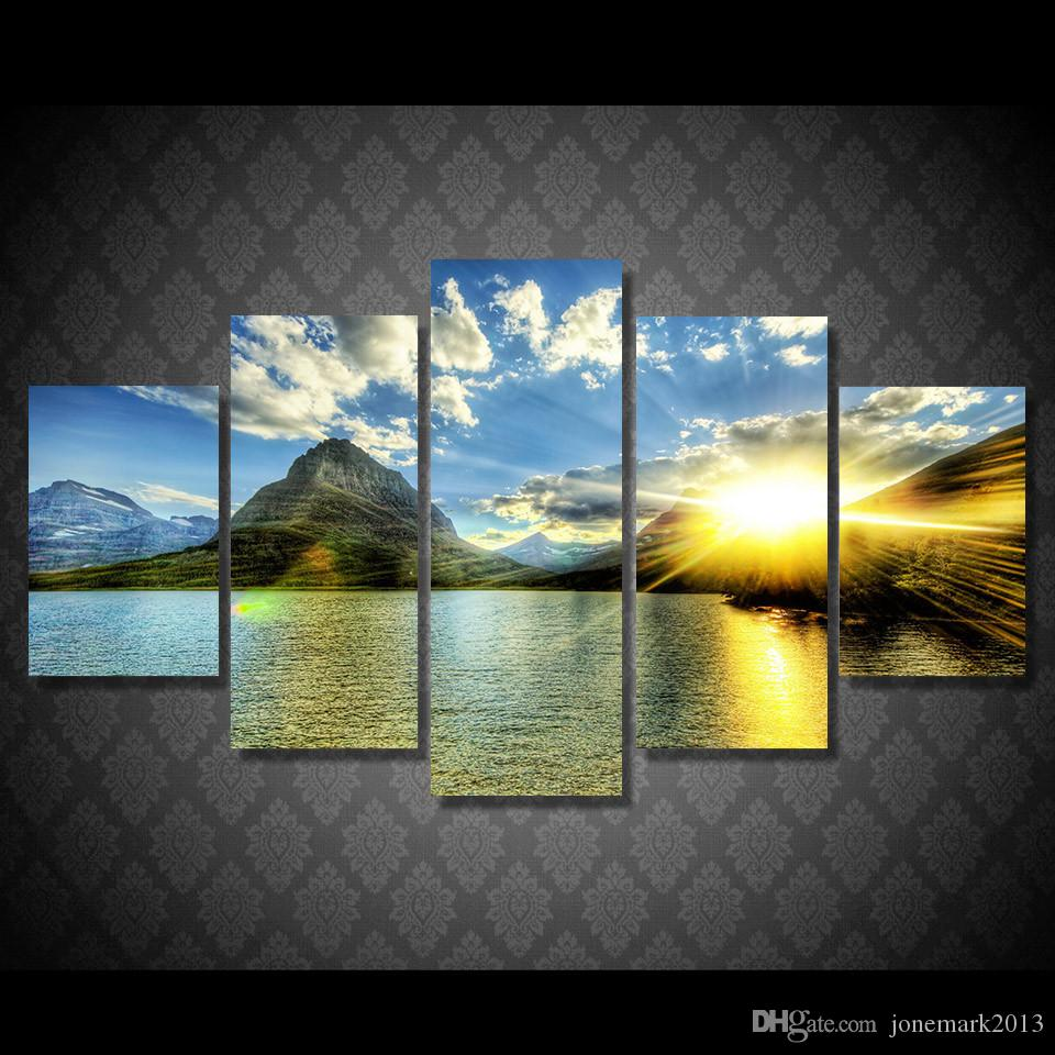 Framed HD Printed Sun Clouds Lake Mountain Sky Picture Wall Art Canvas Print Decor Poster Canvas Oil Painting