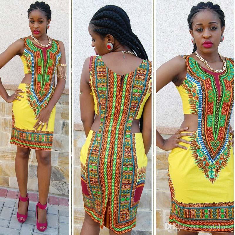 38dd5942cee2 Acquista 2017 Nuove Donne Di Estate Vestito Sexy Senza Maniche Tradizionale Stampa  Africana Signore Dolcevita Bodycon Partito Abiti Da Ufficio A  7.04 Dal ...